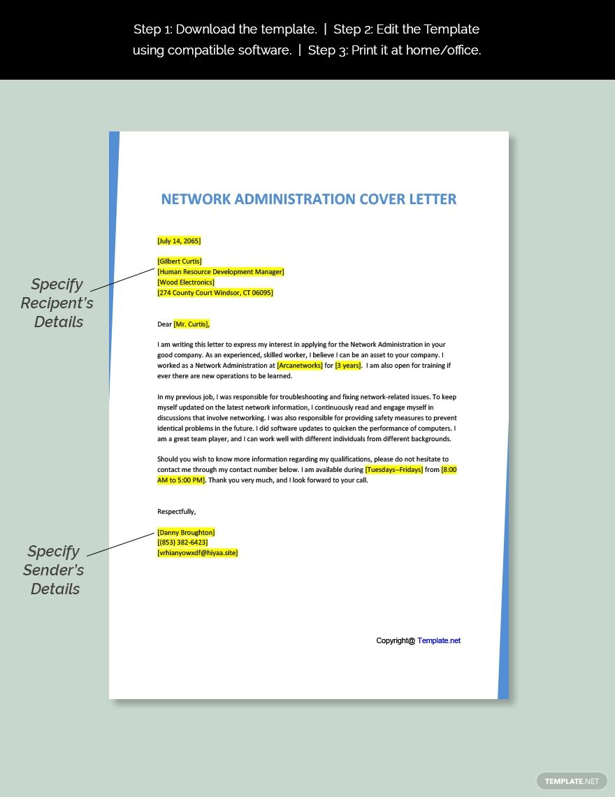 Free Network Administration Cover Letter Template AD, ,