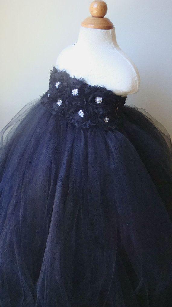 Flower girl dress black tutu dress roses by Theprincessandthebou, $74.00