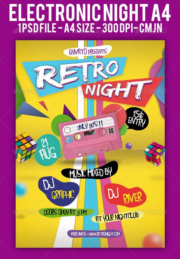 Retro Night Flyer A4 - retro flyer templates
