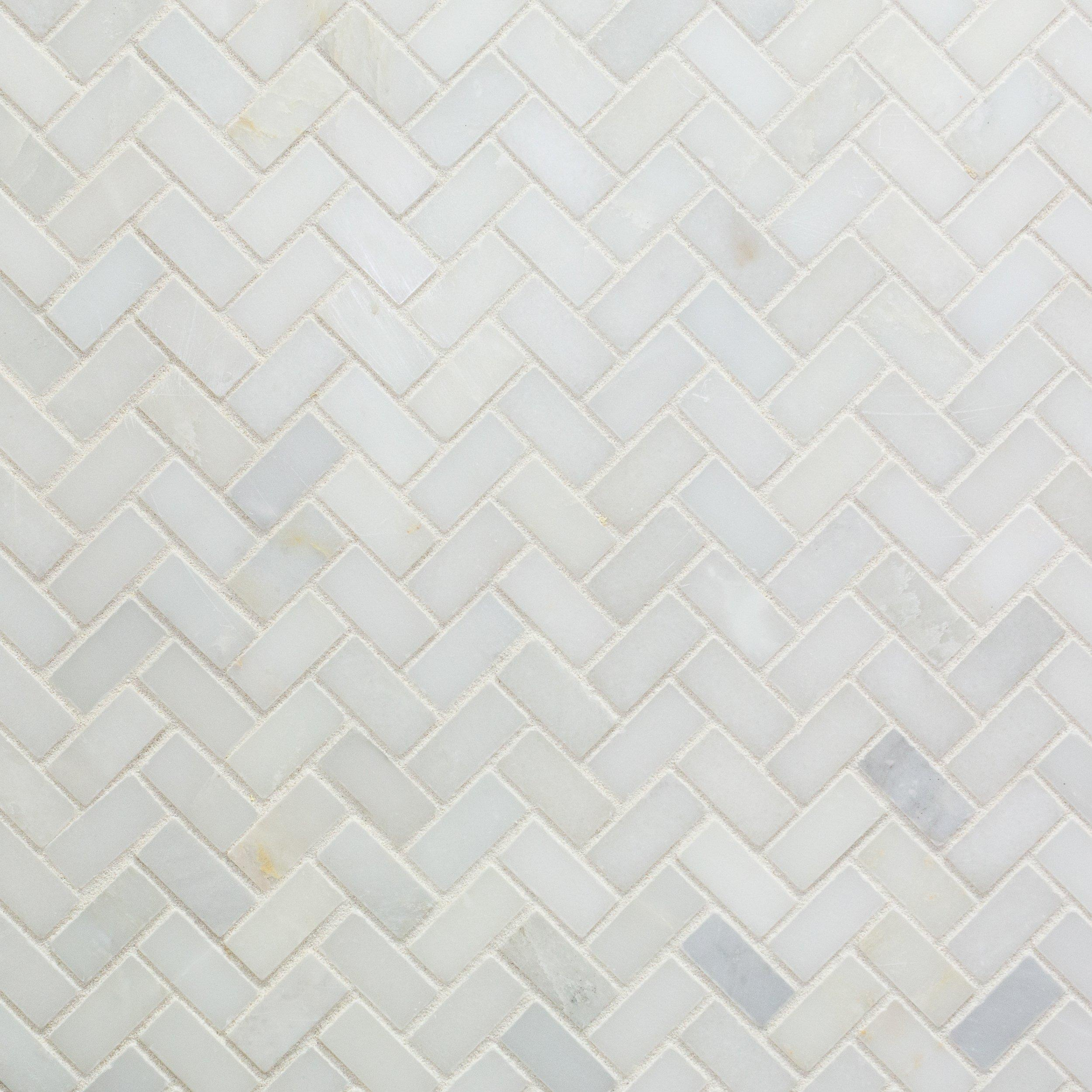 Carrara White Herringbone Marble Mosaic In