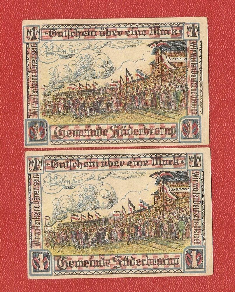 Germany Notgeld 1 Mark Schleswig Suderbrarup Süderbrarup Successive numbers #61