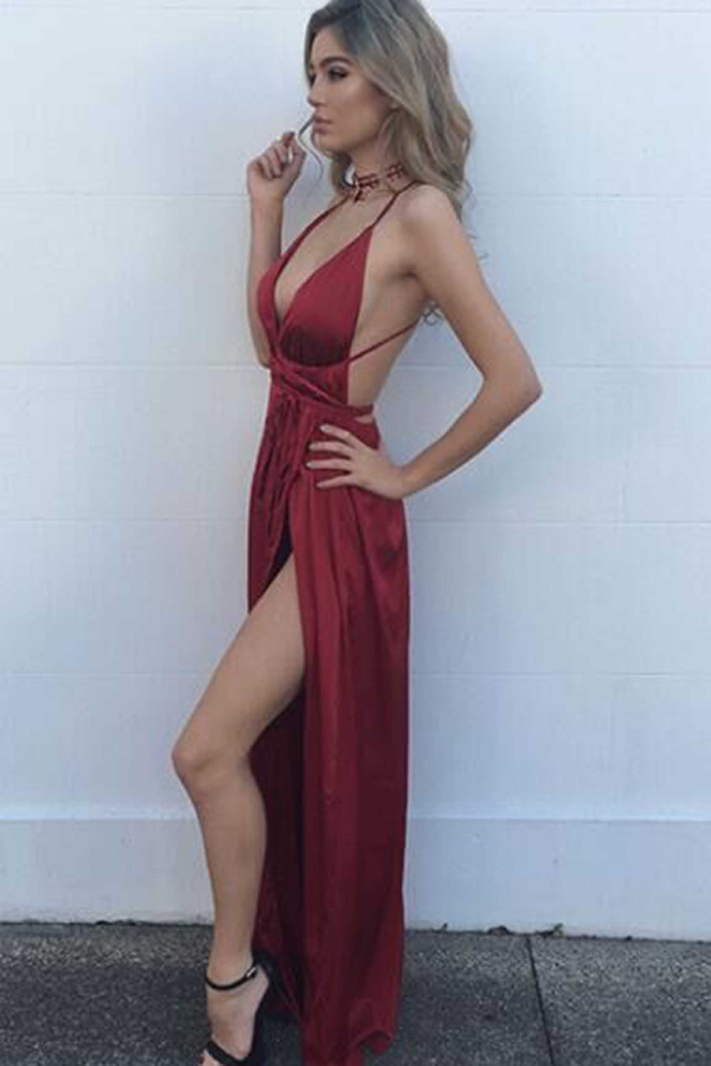 2a3b62b4136ca Sexy red satins v-neck slit long evening dresses,prom dresses from ...