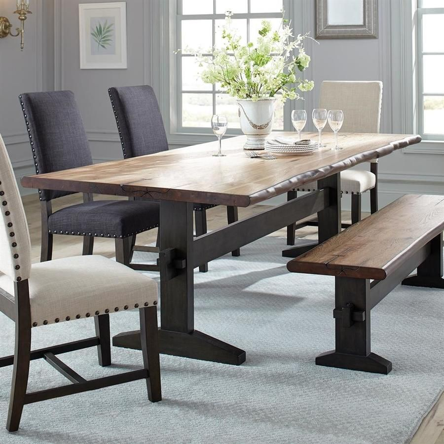 Scott Living Burnham Natural Honey Wood Live Edge Dining Table