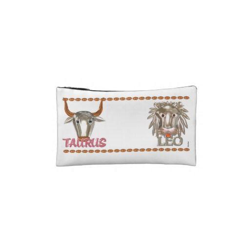 Valxart Taurus Leo zodiac astrology friendship Cosmetics Bags See Valxart.com or Zazzle Valxart store at  http://zazzle.com/valxart*
