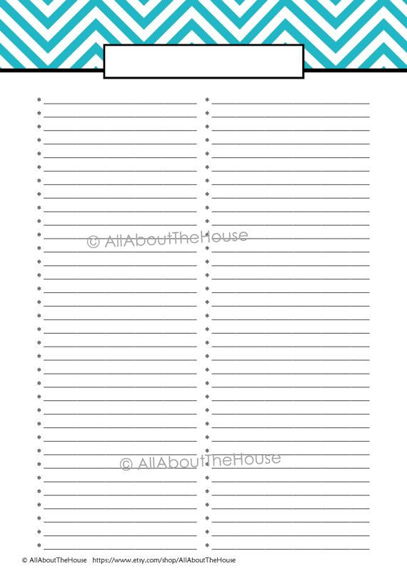 EDITABLE Printable To Do List Printable Shopping List Anything – Editable to Do List Template