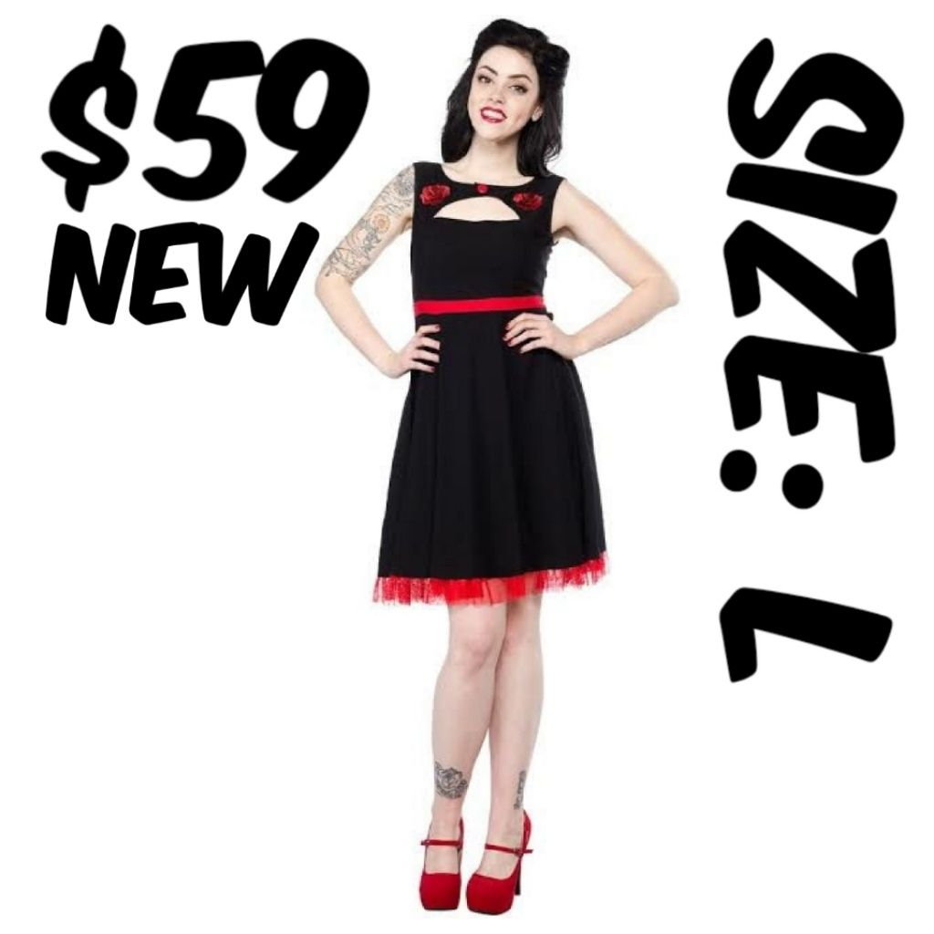 Sourpuss pin up clothing dress rose s black l products
