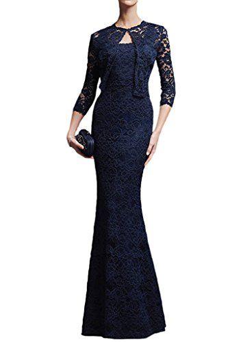 Vienna Bride Vintage Slim Straps Lace Formal Evening Dress for Women with Jacket12Dark Blue