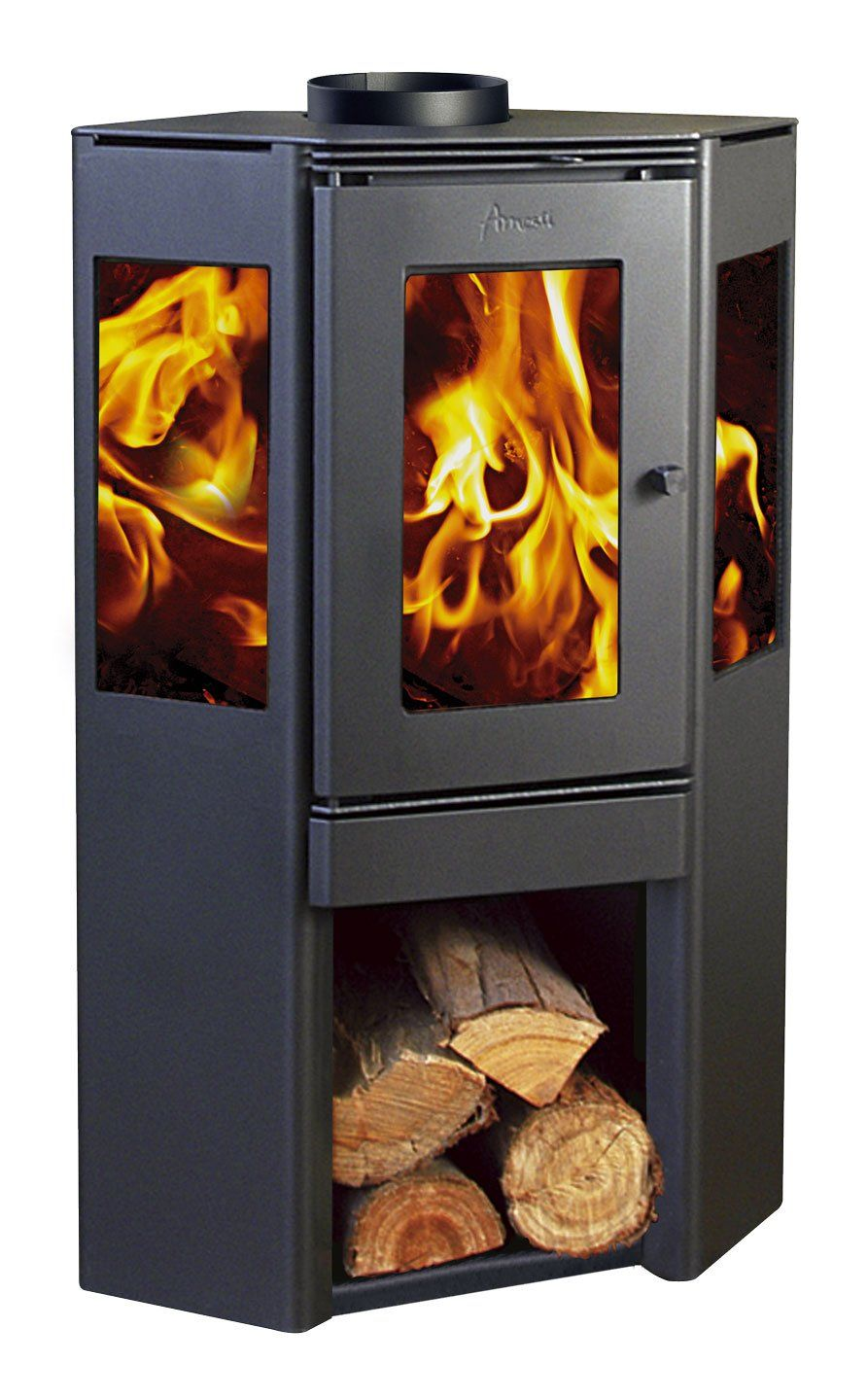 Inredning vedeldad varmvattenberedare : Wood Stove Amesti-corner 650. | Wood stoves | Pinterest