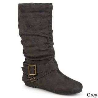 11f1da36dd4 Journee Collection Women s  Shelley-6  Regular and Wide-calf Buckle Slouch  Boot (Grey - 9 - Medium) (leather)