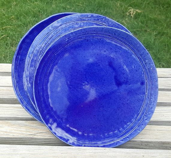 Ceramic Cobalt Blue 8 Inch Dinner Plate by StuffByTaraCamille : 8 inch dinner plates - pezcame.com