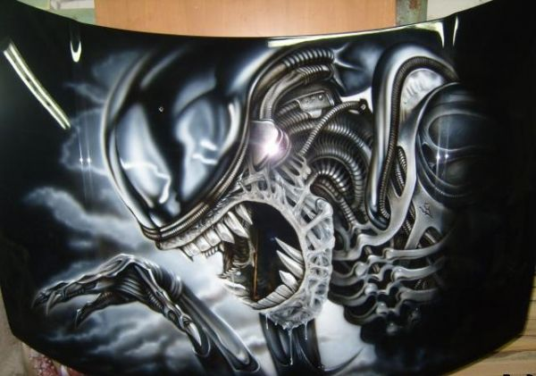 car, airbrush, painting, hood, mechanics - Only Airbrush Image Galleries and Videos: share, promote and rate your Artworks, or discover the lates uploads!  - JustAirbrush