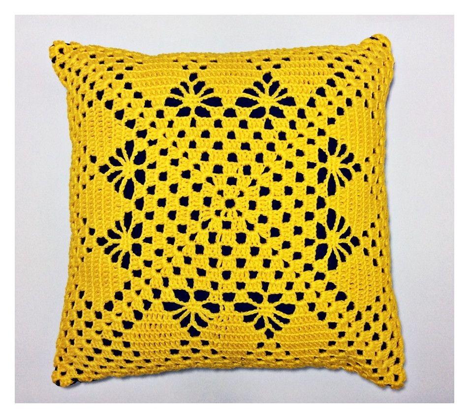 Almofada Croche Amarela 40x40cm Capa De Crochet De Travesseiro