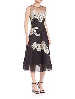 Teri Jon By Rickie Freeman Embellished Mesh Sleeveless Dress