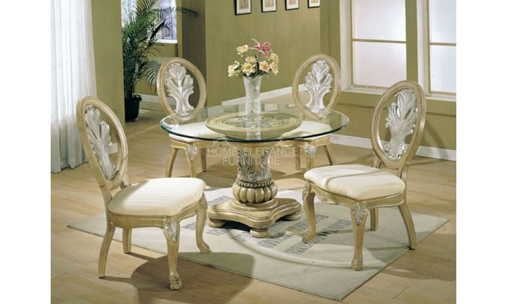 Antique White Dining Room Sets Coronado Round Antique White Finish Dining Set By Acme Glass Dining Room Sets Glass Top Dining Table Traditional Dining Rooms