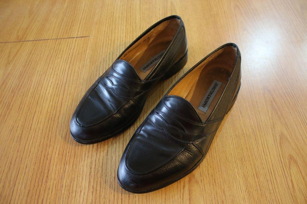f459c93940c Men s JOHNSTON MURPHY Size 10 W Black Leather Slip-On Penny Loafers   fashion