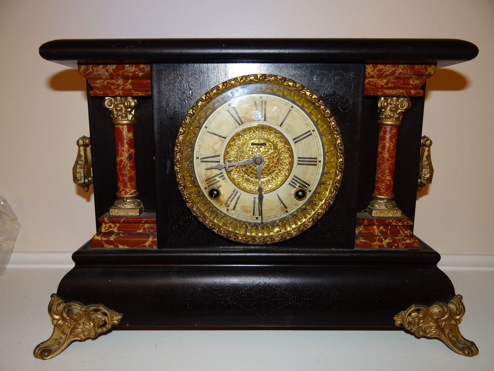 Antique E Ingraham Co Wood Mantel Clock Orologio