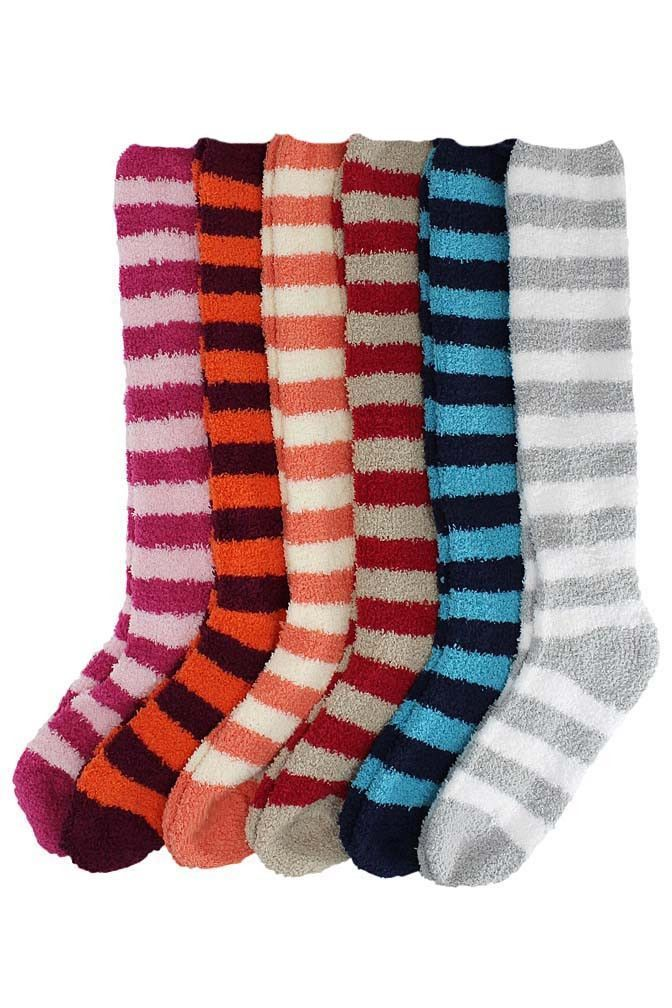 Colorful Stripe Long Knee High Assorted 6 Pack Thick Fuzzy Socks ...