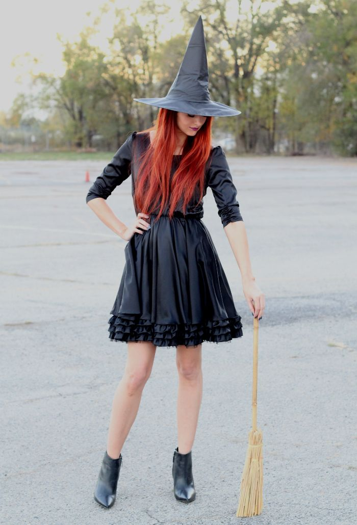 Black dress, witch hat, pointy boots, and a broom make for an easy ...
