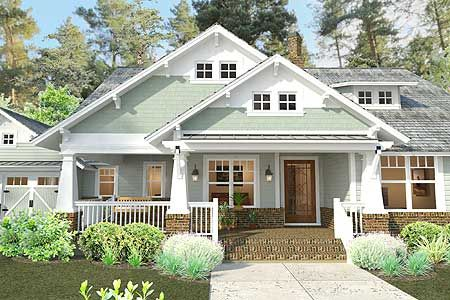Plan 16887wg 3 Bedroom House Plan With Swing Porch Craftsman Style House Plans Craftsman House Craftsman Bungalows