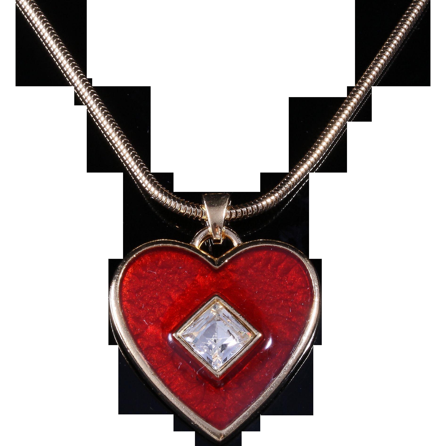 Vintage yves saint laurent large heart pendant necklace sale items