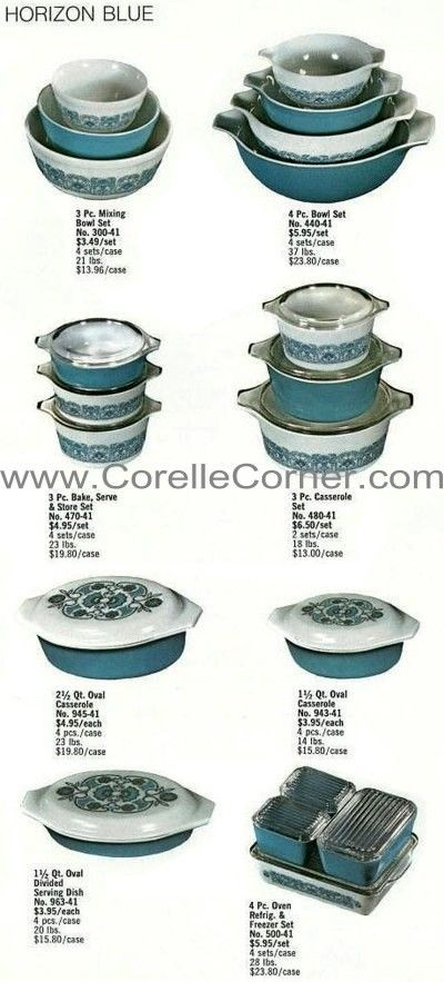 1970 Catalogue - 4 major patterns were listed in the 1970 Pyrex Ware dealer catalogue: Daisy, Early American, Horizon Blue, Verde.  Almost every item available is pictured. *****HORIZON BLUE, bakeware sets in graduated solid colours also exist including: 1½ Qt loaf pan (913)*, 2 Qt square pan (922), 3 Qt rectangular pan (933).  During late 1970 or early 1971, a single 474 casserole also was available with a patterned clear lid & a basket.