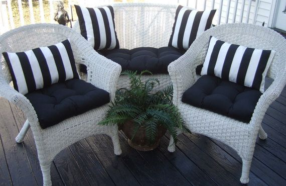 Indoor Outdoor Wicker Cushion And Pillow 7 Pc Set Solid Black Cushions With 4 Black Whi White Patio Furniture White Wicker Patio Furniture Patio Cushions