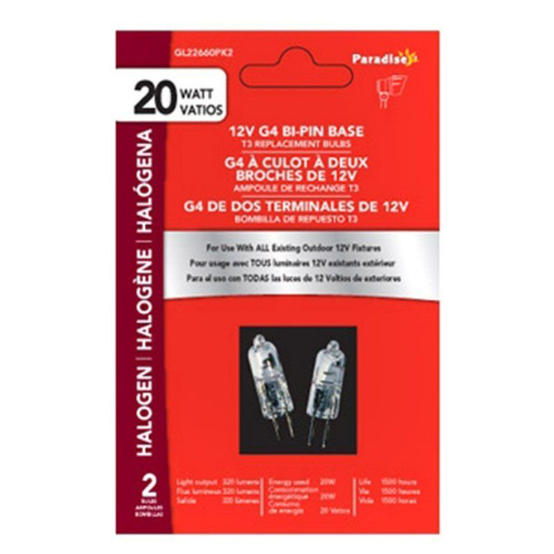 Paradise Garden Lighting 20w G4 Bi Pin Base Halogen Bulbs Set Of 2 Gl22660 2 Halogen Bulbs Paradise Garden Bulb