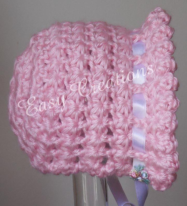CROCHET PATTERN Baby Bonnet Ruffle Star Stitch hat baby babies girl ...