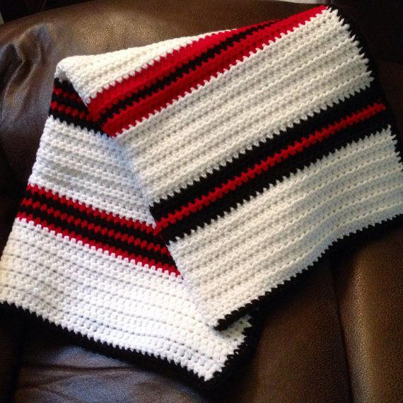 Crocheted Baby Blanket Black White And Red Stripes Baby Blanket Crochet Crochet Crochet Baby