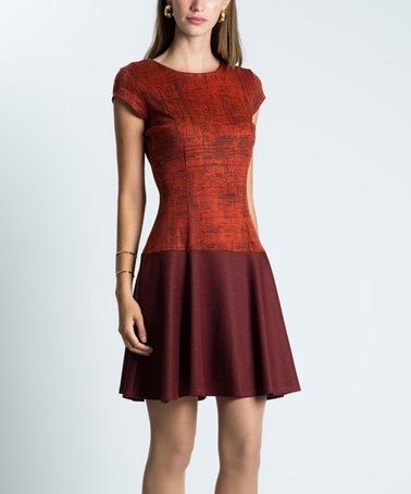 Look what I found on #zulily! Dashing Rust & Cognac A-Line Dress #zulilyfinds