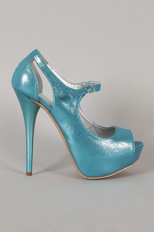 Qupid Dazzling-32 Shimmer Peep Toe Mary Jane Pump