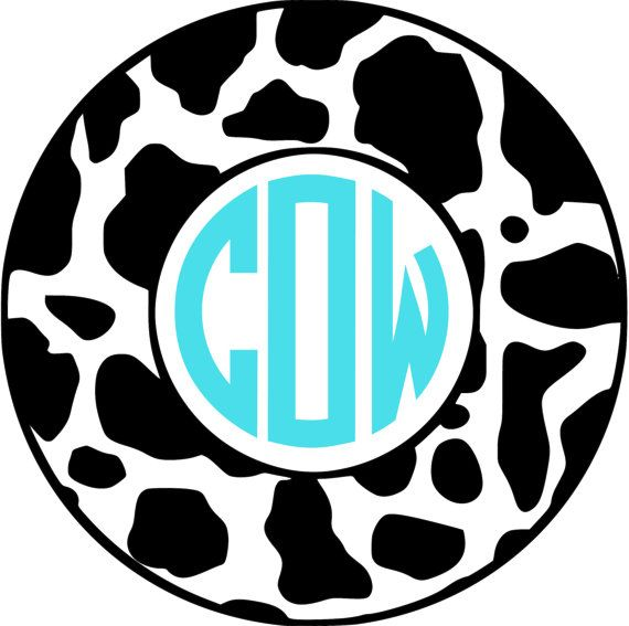 Cow Monogram Car Decal Vinyl Monogram Decal By Thehomemadeholiday