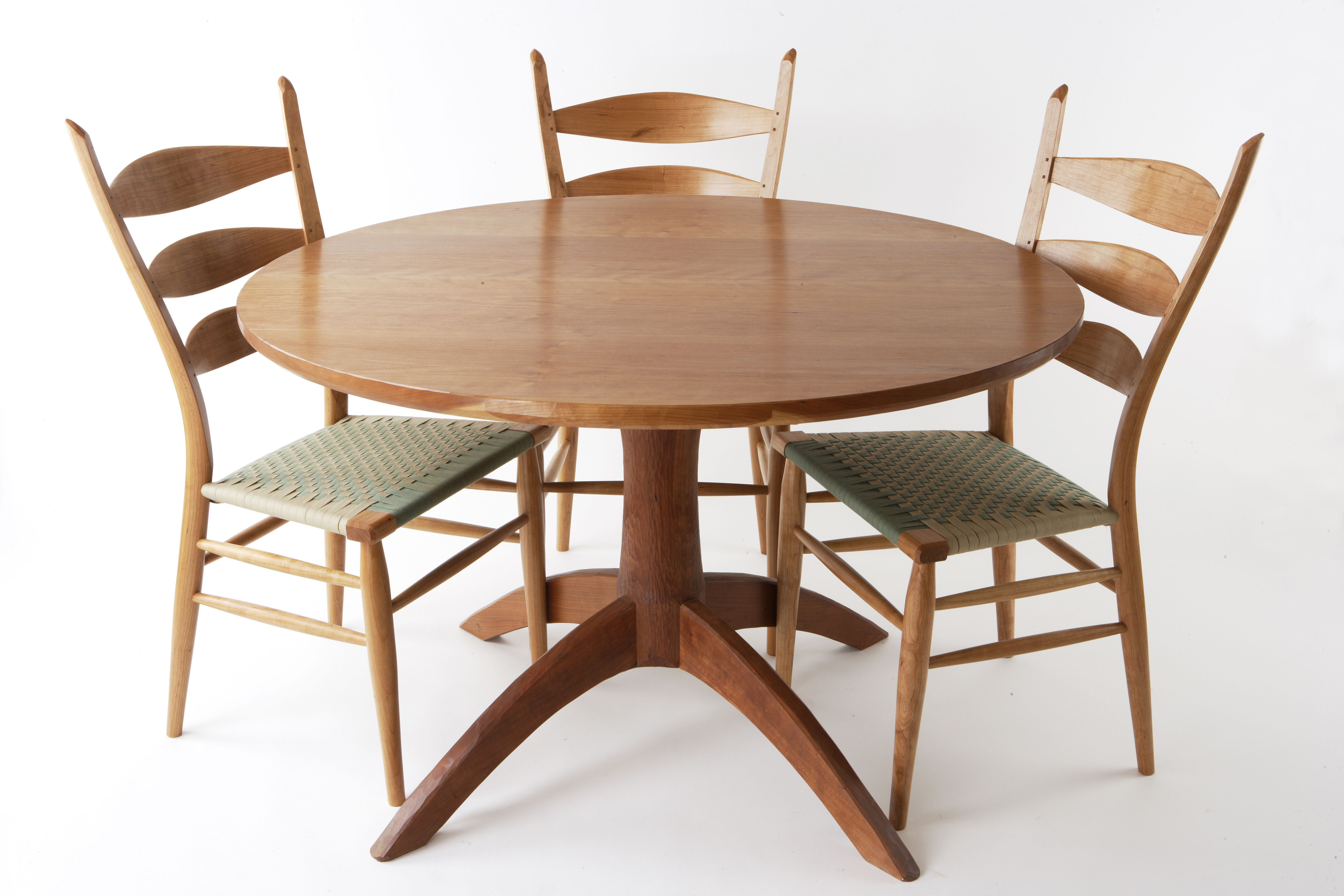 Cherry Dining Set Classic Ladder Back Chairs With Shaker Tape Woven Seats Pedestal Table With Carved Detail At The Base Dining Table Furniture Table