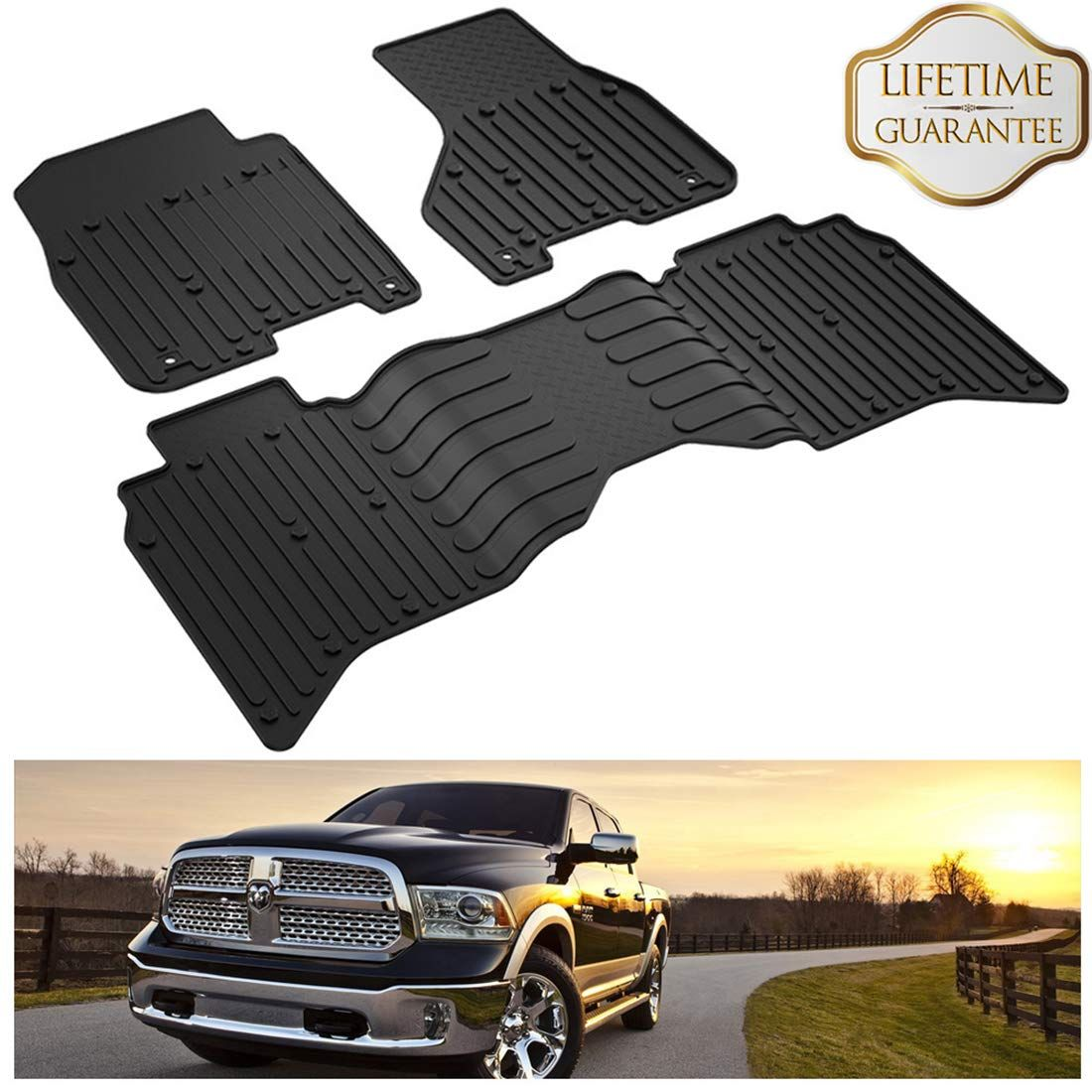 Kiwi Master Floor Mats Compatible For Dodge Ram 1500 5500 Crew Cab 2013 2017 All Weather Protector Tpe Front And Rear Row Flo Floor Liners Crew Cab Cargo Liner