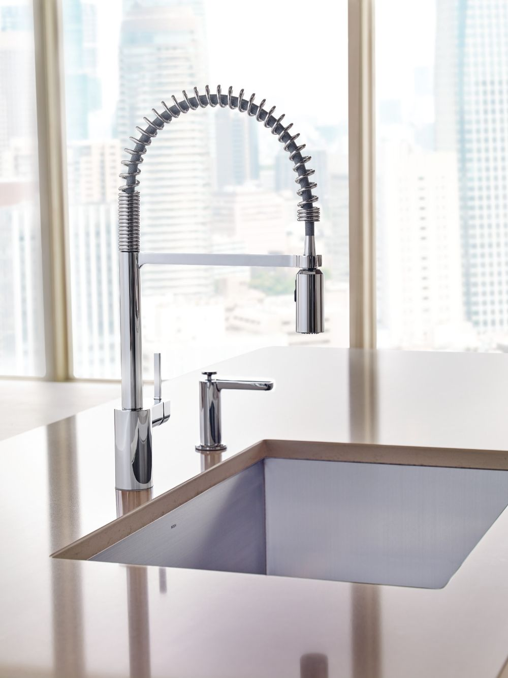 Align chrome one-handle pre-rinse spring pulldown kitchen faucet ...