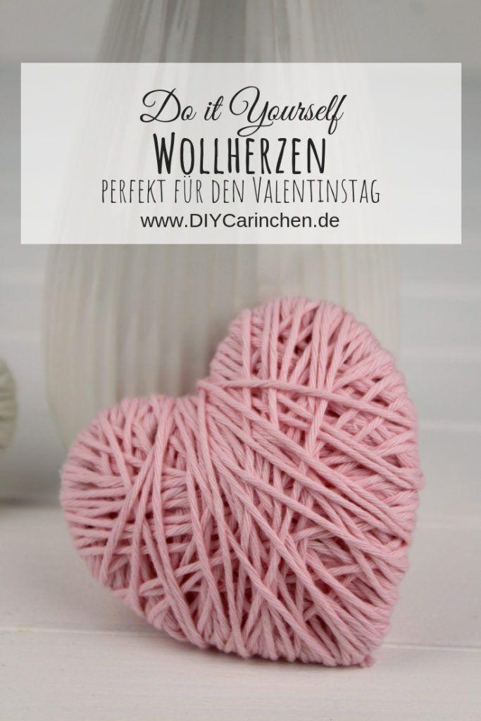 DIY Wollherzen schnell und einfach selber machen - schöne Deko