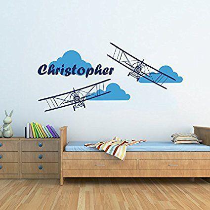 ️ Pilotenzimmer Flugzeug Wand Aufkleber Wolken Name