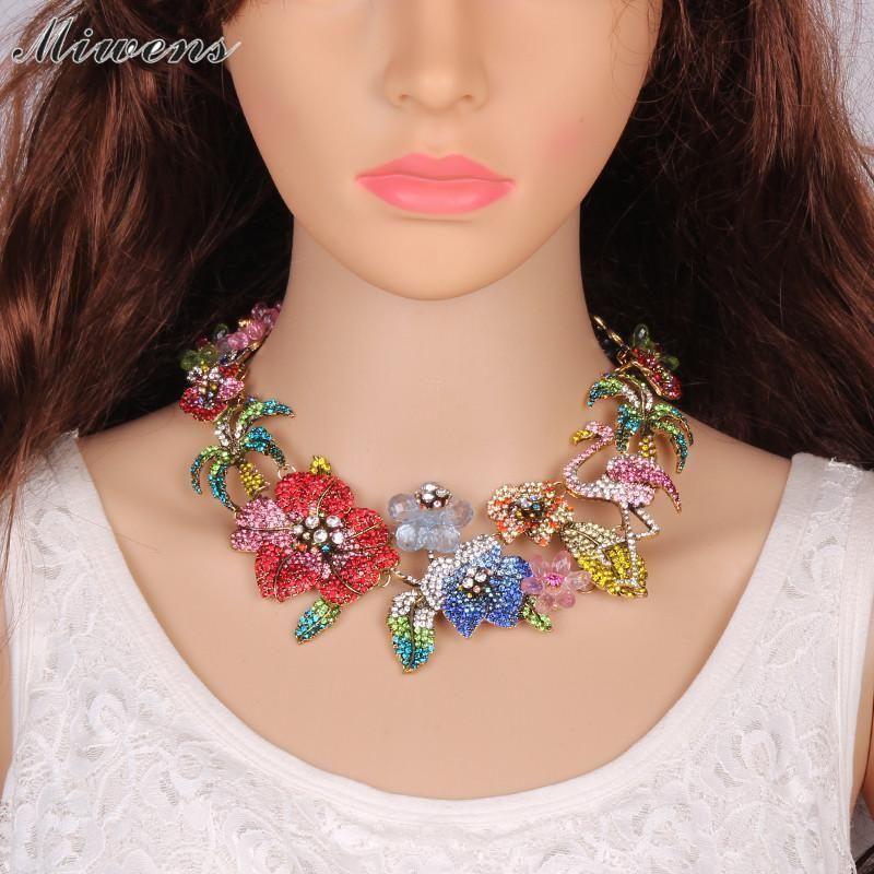 Miwens Fashion Design Flower Choker Necklace Colorful
