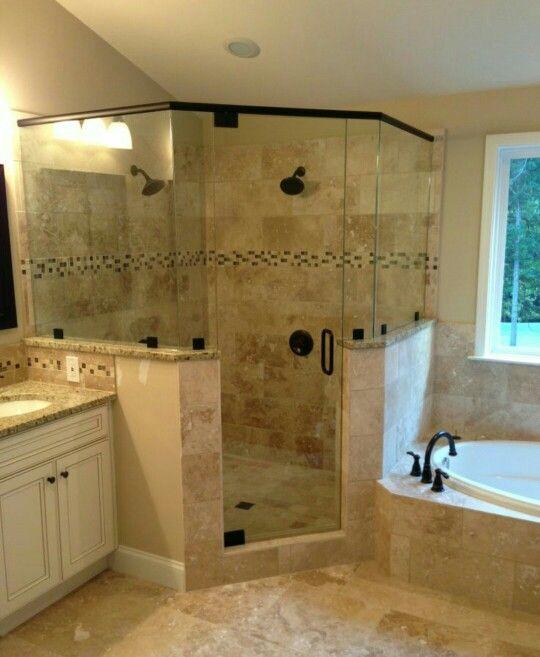 Douche en coin | Bathrooms | Pinterest | Bath, Master bathrooms and ...