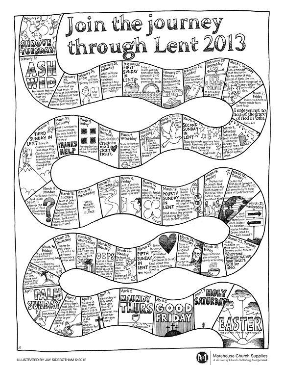 Journey Through Lent Coloring Page Catholic Lent Kids Calendar