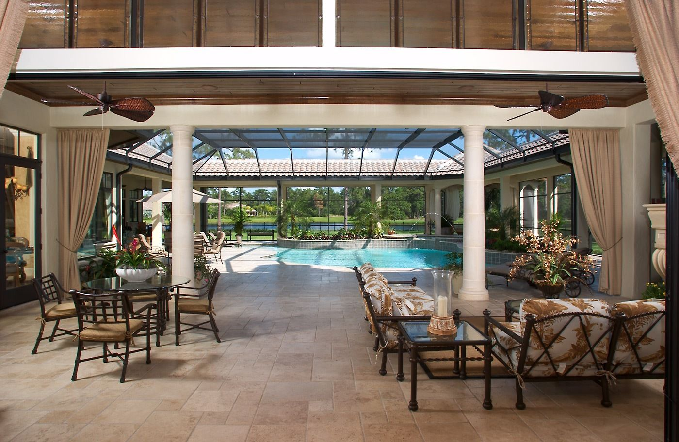 Cover porch with covered walkway around pool and screen ... on Ab And Outdoor Living id=32037