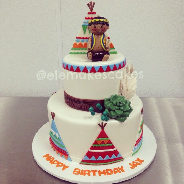 Pow Wow Themed Birthday Cake