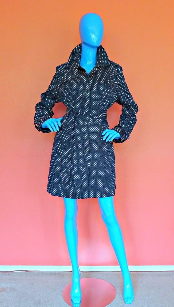 Womens London Fog Trench Rain Coat Polka Dot Size Large L 12 14 16 Slimming Blue #LondonFog #Raincoat