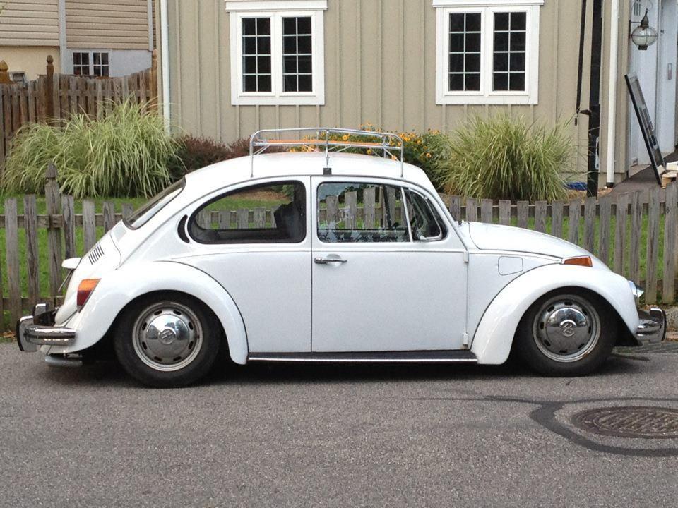 classic white lowered super beetle Vw beetles