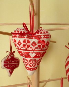 Cross stitch christmas tree heart decoration