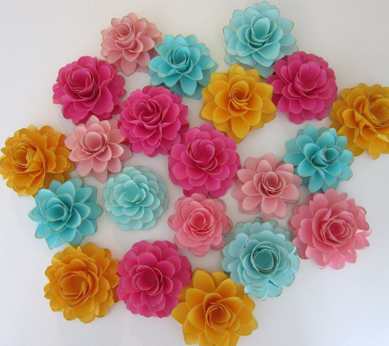 20 Handmade Paper Flowers - Ruffle Roses and Dahlia Collection ...