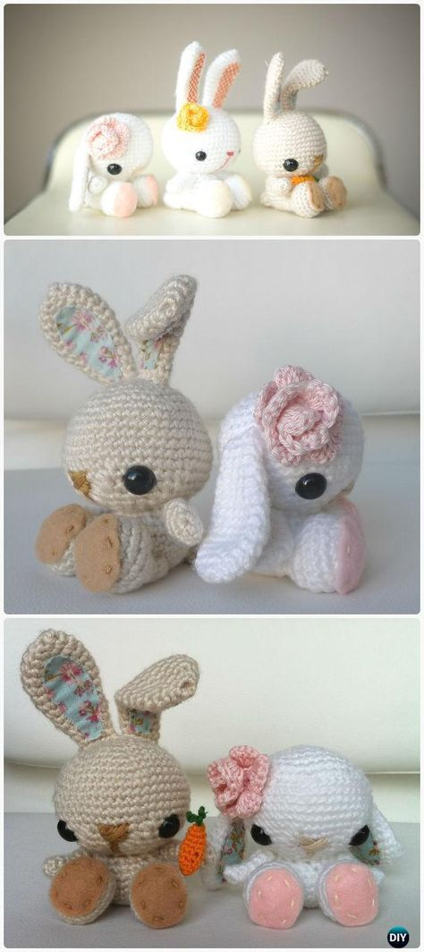 Crochet Amigurumi Bunny Toy Free Patterns Instructions | Bunny toys ...