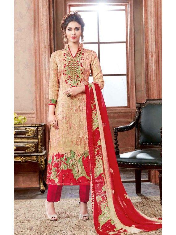 b430fea4c3 Exquisite Cream and Red Printed Salwar Kameez | Cotton Salwar Kameez ...