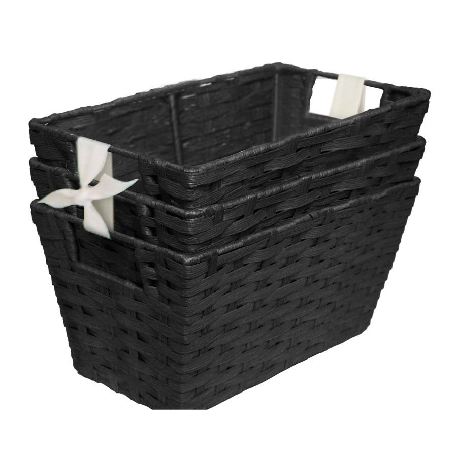 Lowes Laundry Baskets Shop Style Selections 7In W X 6In H X 12In D Black Paper Bin At