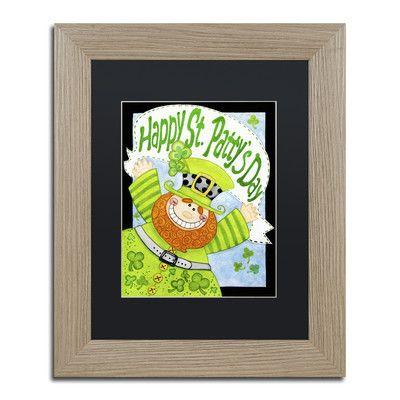 "Trademark Art 'Happy Leprechaun' by Jennifer Nilsson Framed Graphic Art Size: 14"" H x 11"" W x 0.5"" D, Matte Color: Black"